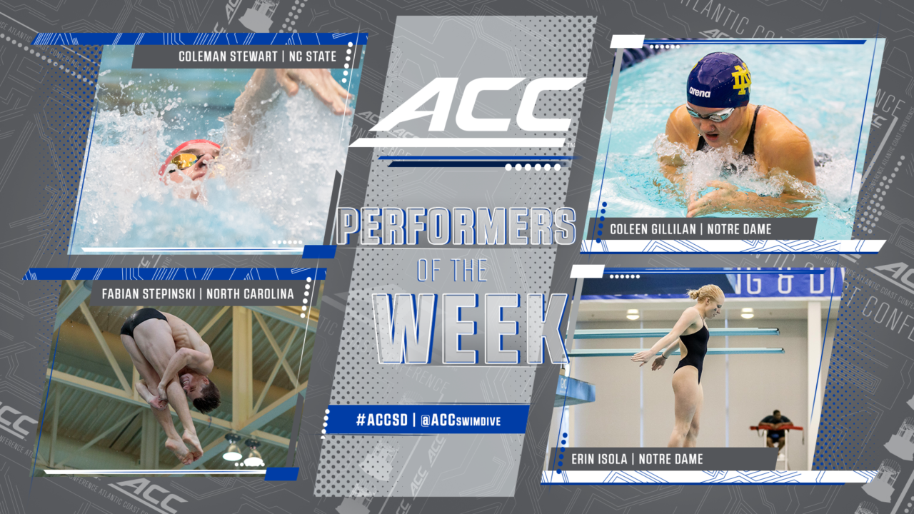 Stewart, Gillilan Named ACC Men's & Women's Swimmer Of The Week