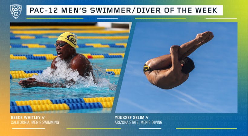 Reece Whitley, Youssef Selim Earn Pac-12 Weekly Swimming and Diving Honors