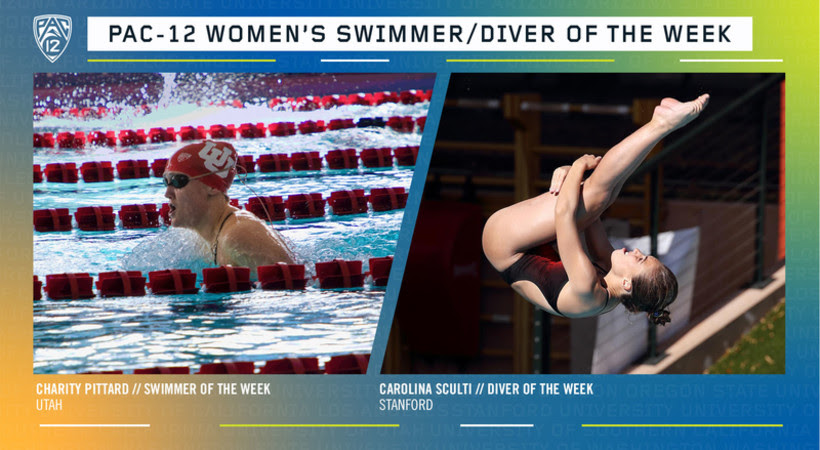 Pittard, Sculti Named Pac-12 Women's Swimmer and Diver of the Week
