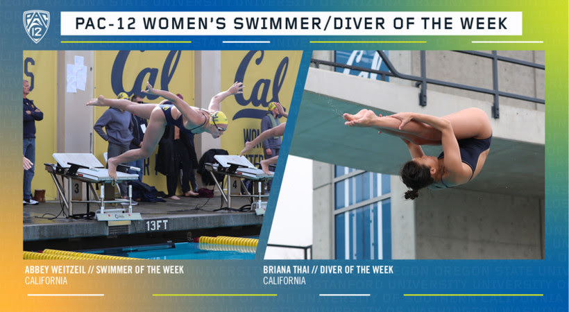 Cal's Weitzeil, Thai Named Pac-12 Women's Swimmer and Diver of the Week