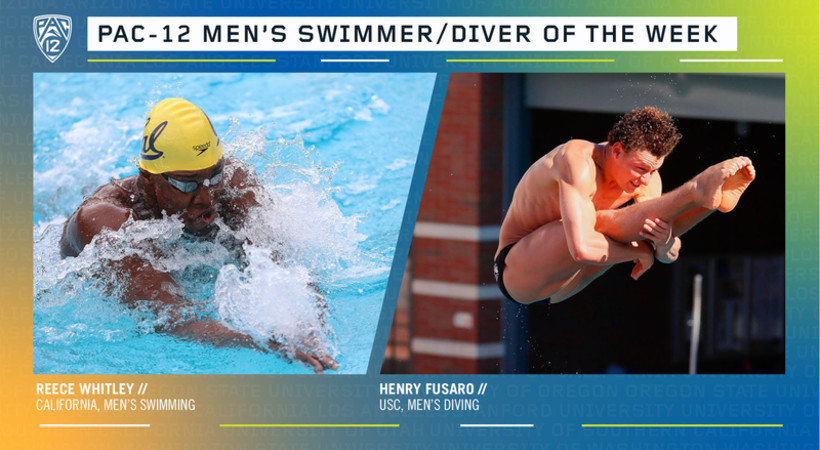Whitley, Fusaro Named Pac-12 Men's Swimmer & Diver of the Week