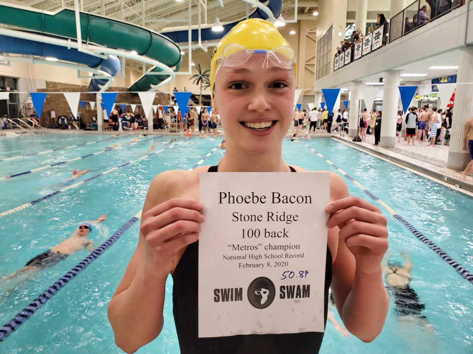 Phoebe Bacon Sets National HS Record with 50.89 in 100 Back at Metros