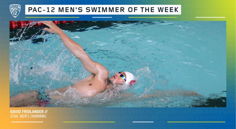 Utah's David Fridlander Named Pac-12 Men's Swimmer of the Week