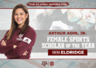 Texas A&M Swimmer Raena Eldridge Named 2020 Arthur Ashe Jr. Award Winner