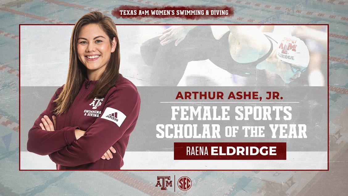 Texas A&M Swimmer Raena Eldridge Named 2020 Arthur Ashe Jr. Award Winner