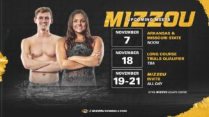 Mizzou Swimming & Diving Announces November Schedules