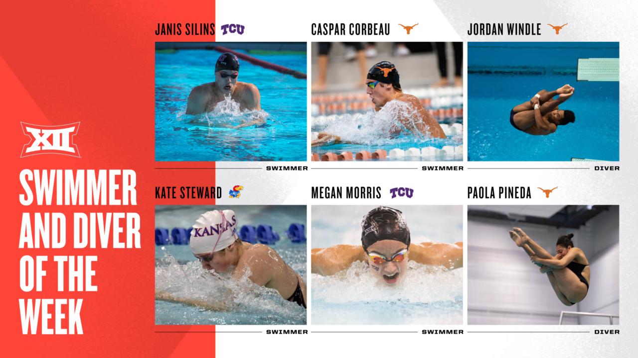 Corbeau, Silins, Steward & Morris Named Big 12 Swimmers of the Week