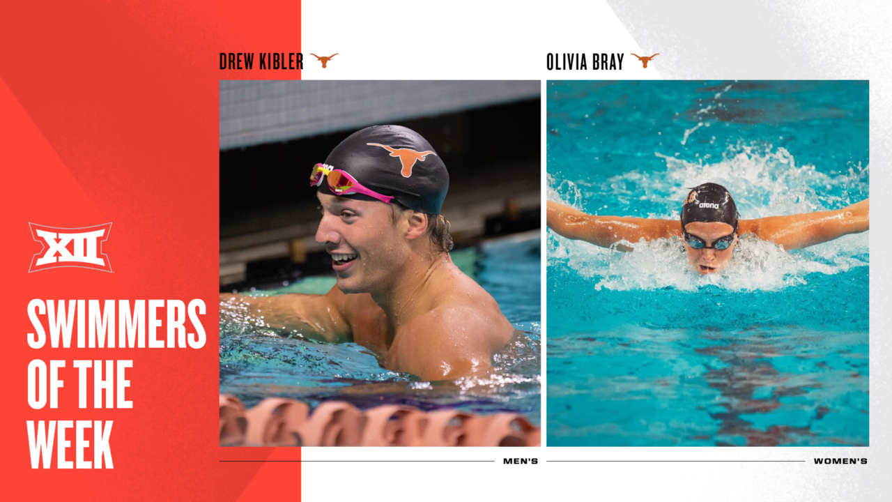 Texas' Drew Kibler, Olivia Bray Named Big 12 Swimmers of the Week