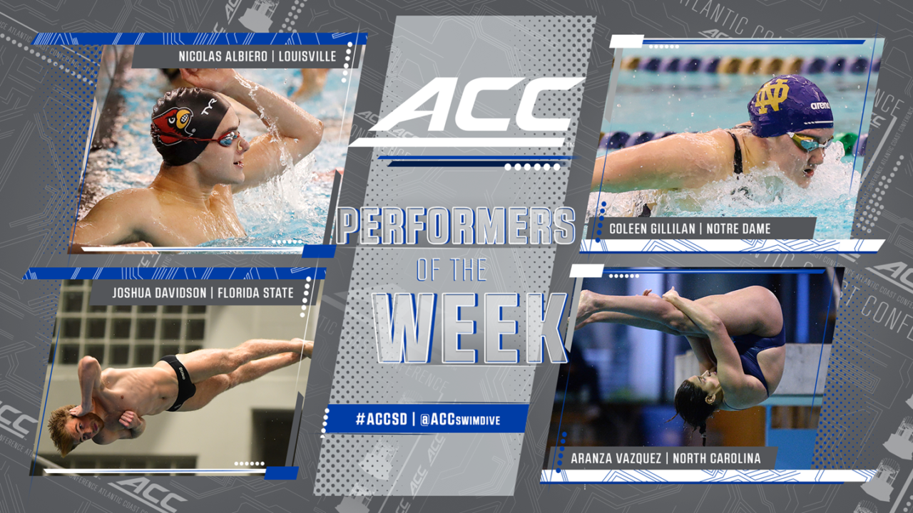 Nicolas Albiero, Coleen Gillilan Named ACC Swimmers of the Week