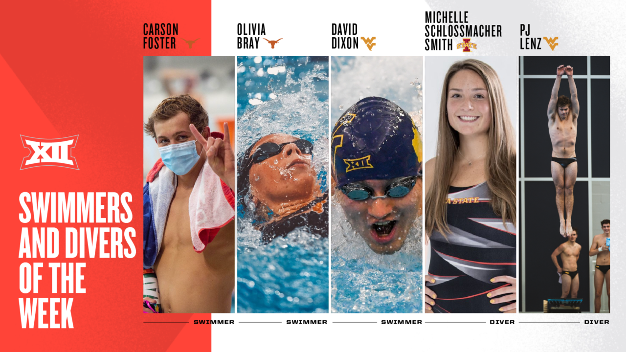Olivia Bray, Carson Foster & David Dixon Named Big 12 Swimmers of the Week