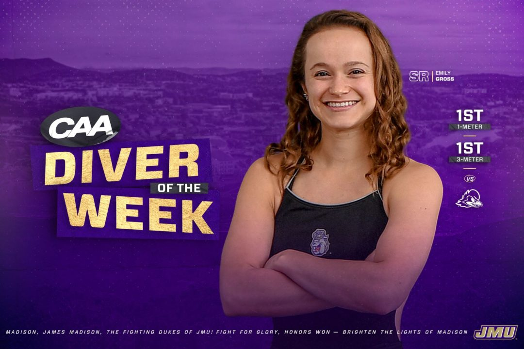 James Madison's Emily Gross Named CAA Women's Diver of the Week