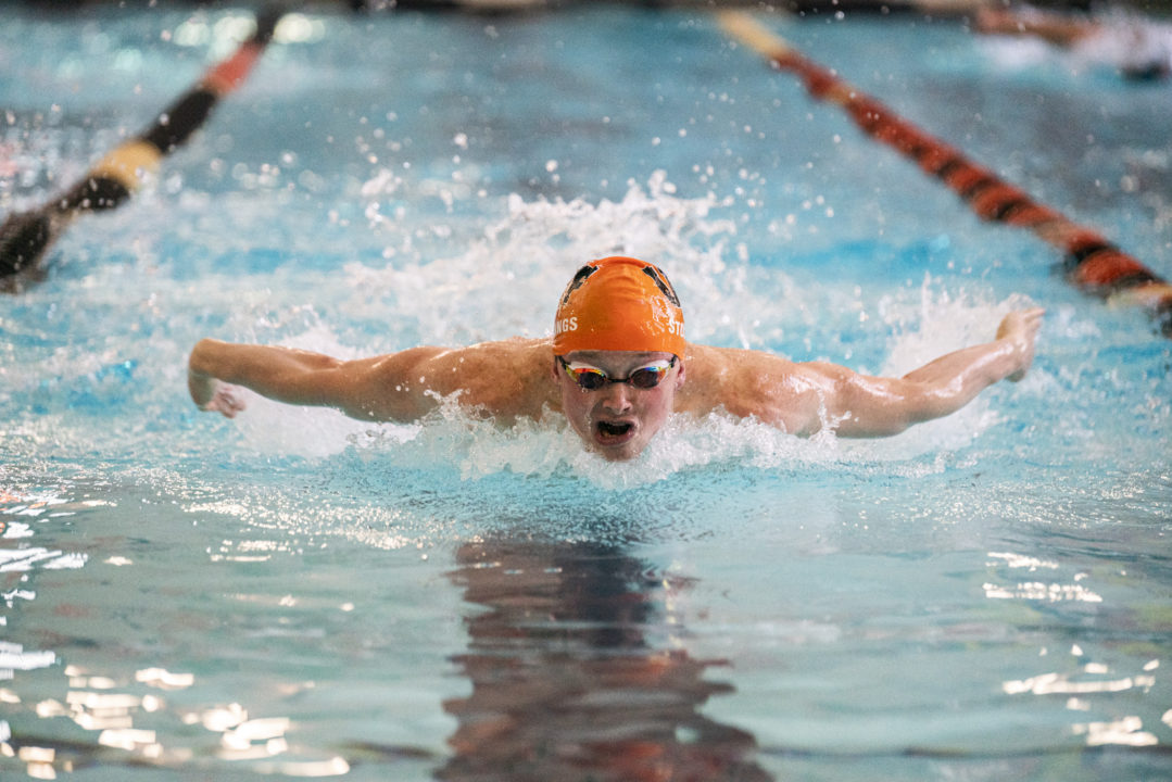NCAA D2 Swimmer Tim Stollings Swims 46.0 100 Fly in a Dual Meet