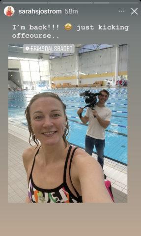 Sarah Sjostrom back to training