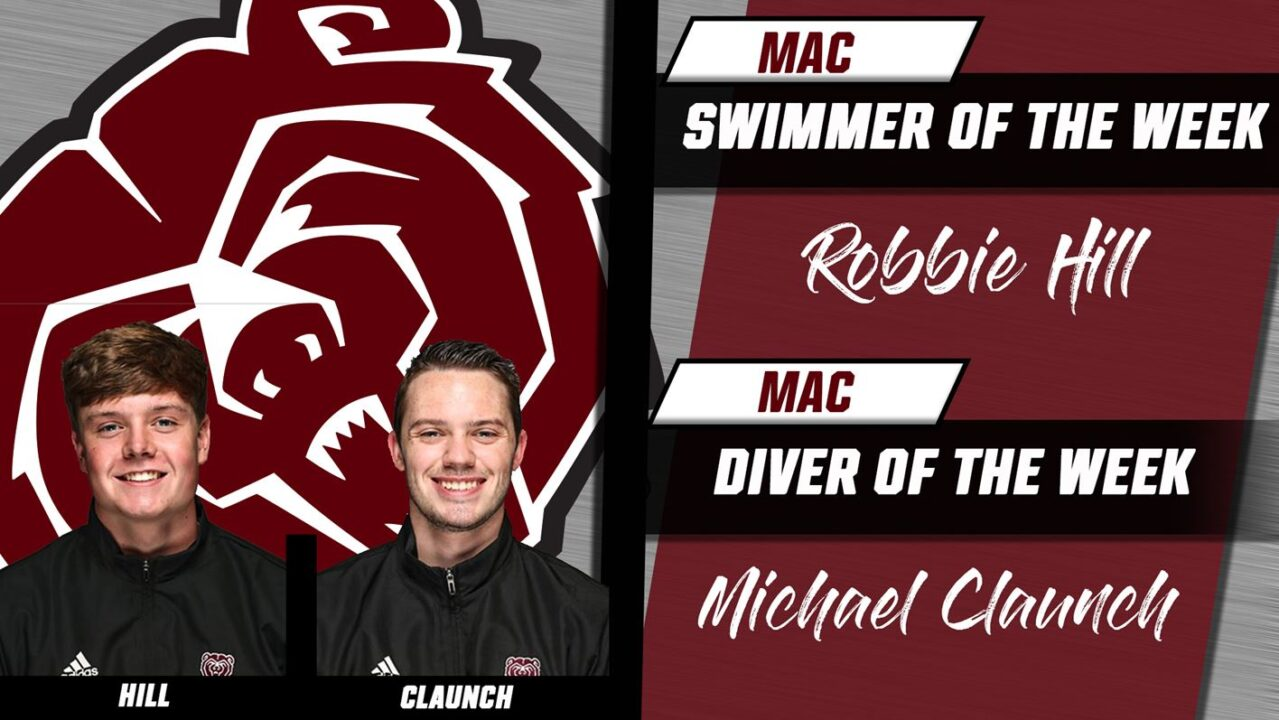 MSU's Hill, Claunch Sweep MAC Weekly Men's Swimming & Diving Awards