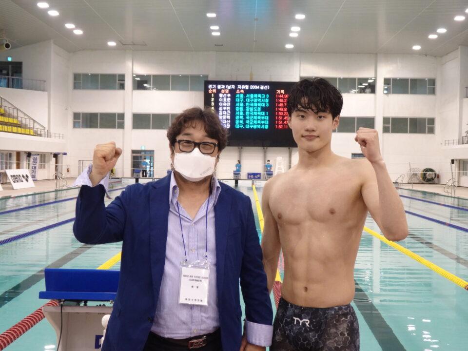 18-Yr-Old Hwang Sunwoo Blasts 1:44.96 200 Free World Junior Record